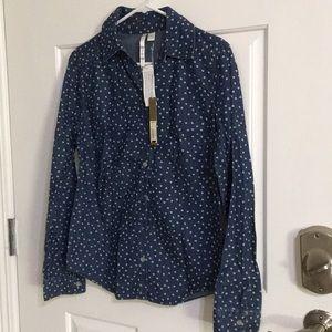 Womens jean button down shirt